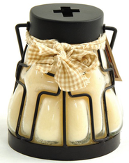 Candle Lantern with Cross Design, Creamy Vanilla  -