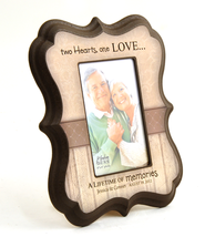 Personalized, Two Hearts One Love, Photo Frame, Tan   -