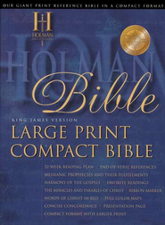 KJV Holman Large Print Compact Bible, Blue Bonded Leather  -