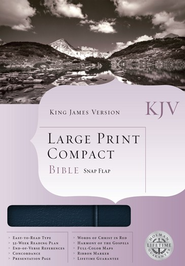 KJV Compact Bible, Large Print, Bonded leather Navy blue w/snap flap - Imperfectly Imprinted Bibles  -