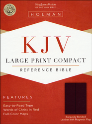 KJV Compact Bible, Large Print, Bonded leather Burgundy w/snap flap  -