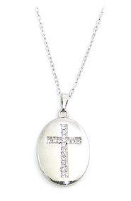 Oval Necklace with Crystal Cross    -