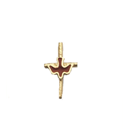 Red Dove on Cross Lapel Pin  -