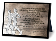 The Goal, Running Couple Sculpture Plaque  -