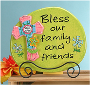 Bless Our Family and Friends Plaque with Easel  -