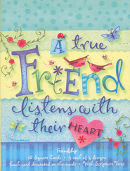 A True Friend Listens with Their Heart Cards, Box of 16  -              By: Tina Wenke