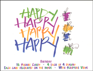 Cheerful Happy Birthday Cards, Box of 16  -              By: Kathie McIlvride