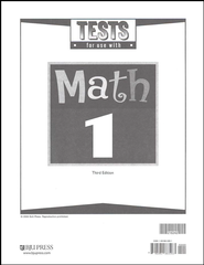 BJU Math Grade 1 Tests, Third Edition    -