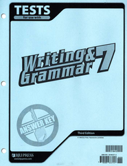 BJU Writing & Grammar Grade 7 Tests Answer Key, Third Edition   -