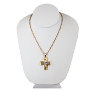 Matte Silver Crystal Cross Necklace  -