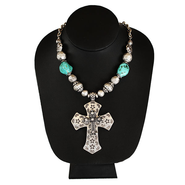 Hammered Silver Jade Bead Cross Necklace  -
