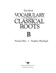Vocabulary from Classical Roots Blackline Master Test: Book B  -