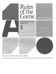 Rules Of The Game, Answer Key Book #1  - Slightly Imperfect  -