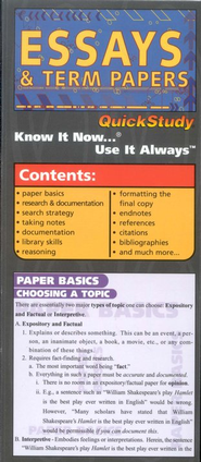 Essays & Term Papers, Compact Chart   -     By: Homeschool