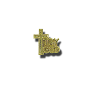 Try God and Cross Lapel Pin, Gold Plated  -