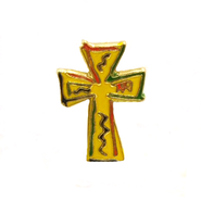 Enameled Cross Lapel Pin  -
