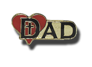 Dad, Heart, Cross Lapel Pin  -
