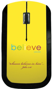 Believe USB Wireless Mouse, Yellow  -