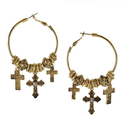 Cross Charm Hoop Earrings  -