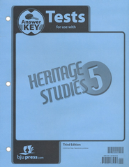 BJU Heritage Studies Grade 5 Tests Packet Answer Key    -