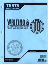 BJU Writing & Grammar Grade 10 Tests Answer Key, Third Edition   -