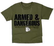 Dogtags, Armed & Dangerous Shirt, Green, Youth Small  -