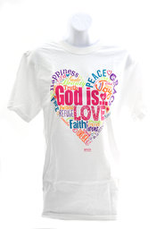 God Is Love Shirt, White, Medium  -