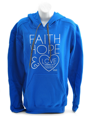 Faith, Hope and Love Hoodie, Blue, Small  -