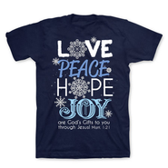 Love, Peace, Hope, Joy Shirt, Navy, Medium  -