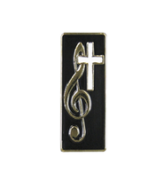 Treble Clef and Cross Lapel Pin  -