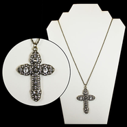 Crystal Pave Cross Pendant, Gold  -