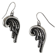 Antiqued Silver Angel Wings Earrings  -