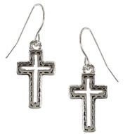 Silver Cross Silver Cut Out Center Earrings  -