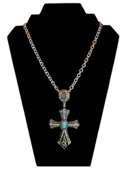 Antiqued Crystal Cross Necklace with Turquoise Center, Silver  -