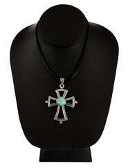 Textured Cross Necklace with Turquoise Center, Silver  -