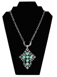 Cut Out Cross Necklace with Turquoise Beads, Silver  -