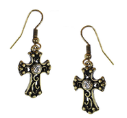 Filigree Cross Earrings with Crystal Center, Gold  -