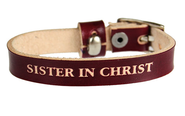 Sister in Christ Leather Bracelet, Red  -