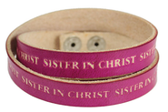 Sister in Christ Wrap Leather Bracelet, Pink  -