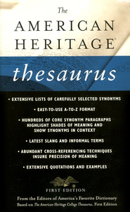 The American Heritage Thesaurus, First Edition  -     By: Houghton Mifflin Company
