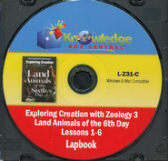 Exploring Creation with Zoology 3: Land Animals of  the 6th Day Lessons 1-6 Lapbook CD-Rom  -