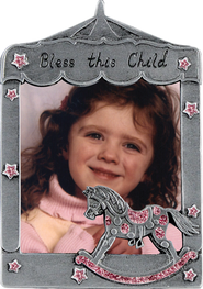 Bless This Little Angel Photo Frame, Rocking Horse Pink  -