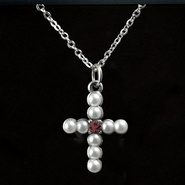 Pearl Cross Birthstone Pendant, January  -