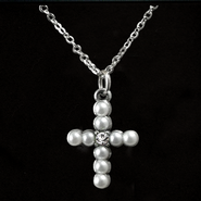 Pearl Cross Birthstone Pendant, April  -