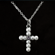 Pearl Cross Birthstone Pendant, June  -