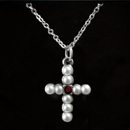Pearl Cross Birthstone Pendant, July  -