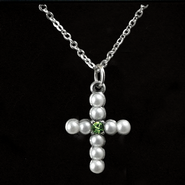 Pearl Cross Birthstone Pendant, August  -