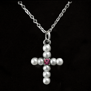 Pearl Cross Birthstone Pendant, October  -