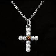 Pearl Cross Birthstone Pendant, November  -