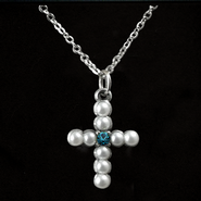 Pearl Cross Birthstone Pendant, December  -